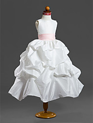 cheap -Ball Gown Tea Length Flower Girl Dress - Taffeta Sleeveless Scoop Neck with Pick Up Skirt / Sash / Ribbon / Ruffles by LAN TING BRIDE® / Spring / Summer / Fall / Winter / First Communion
