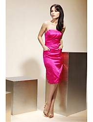 cheap -Sheath / Column Strapless Knee Length Stretch Satin Bridesmaid Dress with Pockets by LAN TING BRIDE®