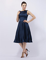 cheap -A-Line / Princess / Fit & Flare Bateau Neck Knee Length Stretch Satin Celebrity Style Cocktail Party Dress with Pleats by TS Couture®