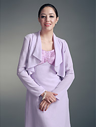 Long Sleeves Chiffon Party Evening Casual Office & Career Wedding  Wraps With Ruched Coats / Jackets