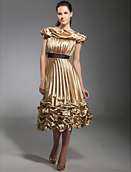 A-Line Princess Off-the-shoulder Tea Length Stretch Satin Holiday Dress with Ribbon by TS Couture®