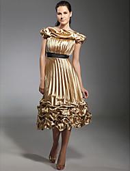 Une ligne de princesse à l'épave longueur de thé stretch satin robe de vacances avec ruban by ts couture®