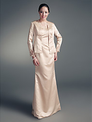 Sheath / Column Jewel Neck Floor Length Satin Mother of the Bride Dress with Beading Lace by LAN TING BRIDE®
