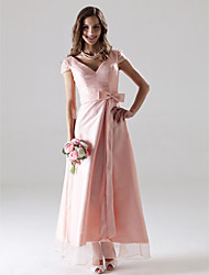 A-Line V-neck Ankle Length Organza Bridesmaid Dress with Bow(s) Sash / Ribbon by LAN TING BRIDE®