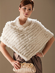 Genuine Rabbit Fur/ Fox Fringed Fur Poncho/ Wraps