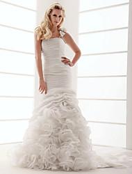 economico -Fasciante Monospalla Strascico di corte Taffetà Vestito da sposa con Ruches e volant Floreale di LAN TING BRIDE®