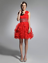 cheap -A-Line Princess One Shoulder Short / Mini Organza Holiday Dress with Beading by TS Couture®