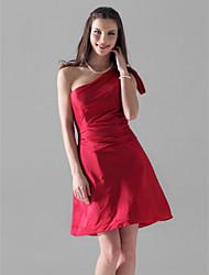 Недорогие -А-силуэт На одно плечо Короткое / мини Тафта Платье для подружек невесты с Оборки от LAN TING BRIDE®