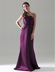 Sheath / Column Strapless Floor Length Satin Bridesmaid Dress with Ruching Ruffles by LAN TING BRIDE®