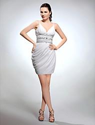 preiswerte -Mantel / Spalte V-Ausschnitt Spaghetti-Trägern kurz / Mini-Chiffon Abschluss Kleid mit Perlen von ts couture®