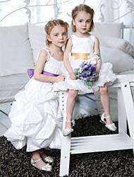 cheap -A-Line Princess Ankle Length Flower Girl Dress - Taffeta Sleeveless Spaghetti Straps with Draping by LAN TING BRIDE®