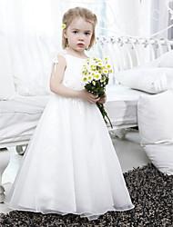 cheap -A-line Bateau Floor-length Organza Satin Flower Girl Dress