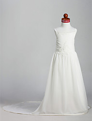 A-Line Princess Court Train Flower Girl Dress - Chiffon Satin Sleeveless Spaghetti Straps with Beading by LAN TING BRIDE®