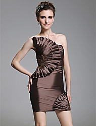 Sheath / Column Strapless Short / Mini Taffeta Cocktail Party Homecoming Dress with Beading Appliques Ruffles by TS Couture®