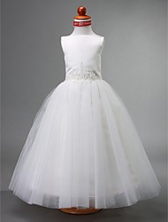 aline ball gown princess floor length flower girl dress tulle sleeveless bateau neck