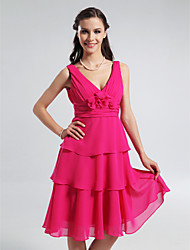 A-Line Princess V-neck Straps Knee Length Chiffon Bridesmaid Dress with Flower(s) Side Draping Ruching by LAN TING BRIDE®