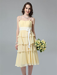 Sheath / Column Spaghetti Straps Tea Length Chiffon Bridesmaid Dress with Sash / Ribbon by LAN TING BRIDE®