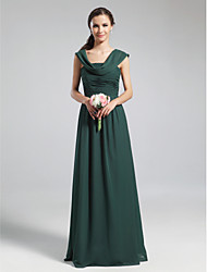 cheap -A-Line Cowl Neck Floor Length Chiffon Bridesmaid Dress with Draping Pleats Ruched by LAN TING BRIDE®