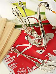 Недорогие -6 шт. Посеребренная стальная фруктовая вилка, установленная в свадебном соусе лебедя