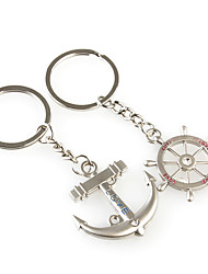 cheap -Rudder and Anchor Shaped Metal Keychain, Pair