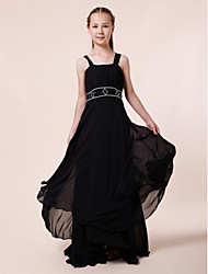 cheap -Sheath / Column Straps Floor Length Chiffon Junior Bridesmaid Dress with Beading Draping by LAN TING BRIDE®