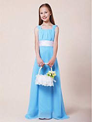 cheap -A-Line Straps Floor Length Chiffon / Stretch Satin Junior Bridesmaid Dress with Draping / Sash / Ribbon / Ruched by LAN TING BRIDE® / Spring / Summer / Fall / Wedding Party / Natural