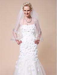 abordables -Une couche Bord ruban Voiles de Mariée Voiles bout du doigt Avec Ruban 59,06 dans (150cm) Tulle A-ligne, Robe de bal, Princesse,