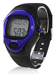 Da uomo Orologio sportivo Digitale LCD Pulsometro Calendario Cronografo allarme Banda Nero Nero e Blue