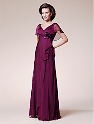 cheap -A-Line V Neck Floor Length Chiffon Mother of the Bride Dress with Flower Ruffles by LAN TING BRIDE®