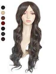 hesapli -Sentetik Peruklar Stil Peruk Koyu Kahverengi #27 Orta Auburn Sentetik Saç Kadın's Peruk siyah Peruk