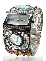 cheap -Amazing Women's Silver Bracelet Watch with Graceful Multi Color Diamond Decoration