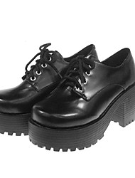 cheap -Lolita Shoes Classic Lolita Dress Lolita School Lolita High Heel Shoes Solid 7 CM For PU Leather/Polyurethane Leather Polyurethane Leather