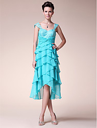 A-Line Sweetheart Straps Tea Length Asymmetrical Chiffon Lace Mother of the Bride Dress with Pleats by LAN TING BRIDE®