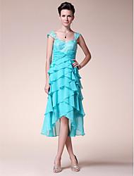 a-line cinghie cinghie tè asimmetrico madre chiffon in seta del vestito sposa con pieghe da lan ting bride®