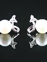 abordables -925 boucles d'oreilles en argent sterling avec perles d'eau douce goujons (plus de couleurs)