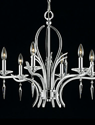 cheap -Elegant Crystal Chandelier with 6 Lights in Candle Bulb