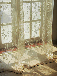 European Living Room Floral  Botanical Beige Two Panels Sheer Curtains Shades