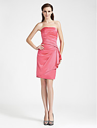 Sheath / Column Strapless Knee Length Satin Bridesmaid Dress with Side Draping by LAN TING BRIDE®
