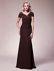 cheap -Mermaid / Trumpet V-neck Floor Length Chiffon Mother of the Bride Dress with Beading Criss Cross by LAN TING BRIDE®