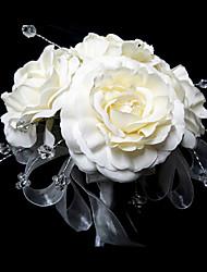 Brudebuketter Rund Roser Buketter Bryllup Satin Krystal Hvid 9.84 tommer (ca. 25cm)