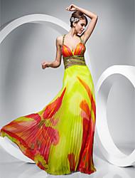 Χαμηλού Κόστους -Ίσια Γραμμή Λουριά Μακρύ Σιφόν Όμορφη Πλάτη Χοροεσπερίδα / Επίσημο Βραδινό Φόρεμα με Χάντρες / Σχέδιο / Στάμπα / Πλαϊνό ντραπέ με TS Couture®