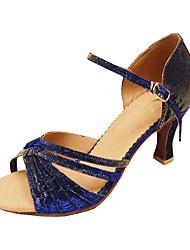 baratos -Mulheres Latina Dança de Salão Tafetá Sandália Salto Presilha Salto Agulha Roxo Azul Azul Púrpura Não Personalizável