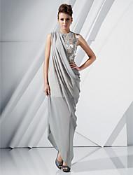 economico -A tubino Con decorazione gioiello Lungo Asimmetrico Chiffon Raso Serata formale Vestito con Perline Con applique Drappeggio di lato diTS