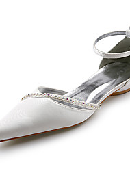 cheap -Top Quality Satin Upper Low Heel Sandals with Rhinestone Wedding Bridal Shoes