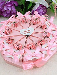 cheap -Round Square Pyramid Card Paper Favor Holder with Ribbons Printing Flower Favor Boxes - 10