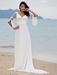 cheap -A-Line V Neck Court Train Chiffon Floral Lace Custom Wedding Dresses with Lace by LAN TING BRIDE®