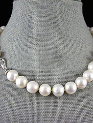 cheap -Women's Flower Pearl Sterling Silver Pearl Necklace Y-Necklace  -  Single Strand White Necklace For Wedding Party Anniversary