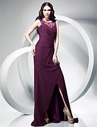 Gaine / colonne cravate courte balle / pinceau robe de soirée en mousseline de soie avec dentelle par ts couture®