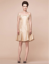 A-Line Off-the-shoulder Knee Length Taffeta Mother of the Bride Dress with Side Draping by LAN TING BRIDE®