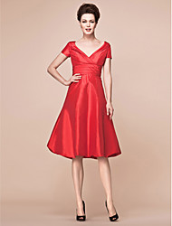 A-Line V-neck Knee Length Taffeta Mother of the Bride Dress with Ruching Criss Cross by LAN TING BRIDE®